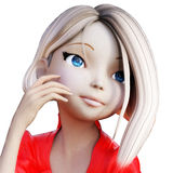 Digital 3D Illustration of a Toon Girl Royalty Free Stock Photo