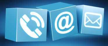 Digital 3D printed plastic cube contact icon 3D rendering. On blue background Stock Image
