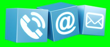 Digital 3D printed plastic cube contact icon 3D rendering. On green background Royalty Free Stock Photo