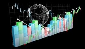 Digital 3D rendered stock exchange stats and charts. On black background Royalty Free Stock Photography