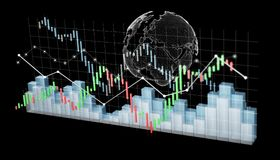 Digital 3D rendered stock exchange stats and charts. On black background Stock Photo