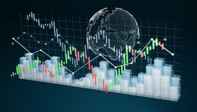 Digital 3D rendered stock exchange stats and charts. On blue background Stock Photos