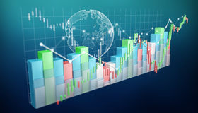 Digital 3D rendered stock exchange stats and charts. On blue background Royalty Free Stock Photo