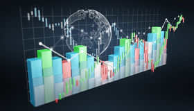 Digital 3D rendered stock exchange stats and charts. On blue background Stock Images