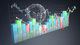 Digital 3D rendered stock exchange stats and charts. On blue background Royalty Free Stock Photos
