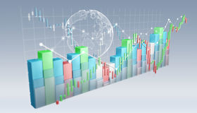 Digital 3D rendered stock exchange stats and charts. On grey background Royalty Free Stock Image