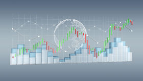 Digital 3D rendered stock exchange stats and charts Royalty Free Stock Images