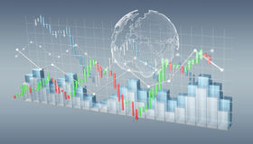 Digital 3D rendered stock exchange stats and charts. On grey background Stock Photo