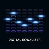 Digital dark equalizer with blue light Royalty Free Stock Images