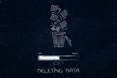 Digital data falling into a bin and getting deleted with progres Stock Photography