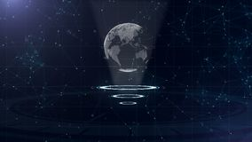 Digital data globe - abstract illustration of a scientific technology. Data network. Surrounding planet earth on three