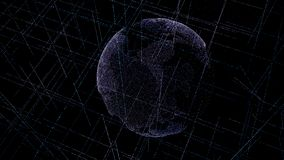 Digital data globe - abstract illustration of scientific technology data network surrounding planet earth conveying connectivity, royalty free stock photography