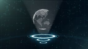 Digital data globe - abstract illustration of a scientific technology. Data network. Surrounding planet earth on three royalty free stock images