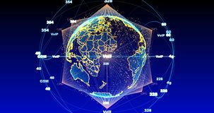 Digital data globe - abstract scientific technology data network surrounding planet earth conveying connectivity. Digital data globe - abstract of a scientific stock illustration