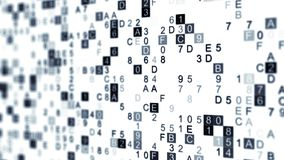 Digital data hex code with DOF. Digital data gray hex code. Abstract information technology concept. Computer generated illustration rendered with DOF Stock Photo