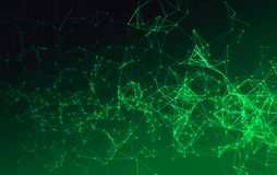 Digital data and green network connection triangle lines. For technology concept on black background, 3d abstract illustration Stock Photography