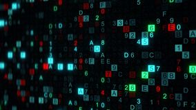 Digital data hex code on screen with DOF. Digital data hex code on screen. Abstract information technology concept. Computer generated illustration rendered with Royalty Free Stock Photography