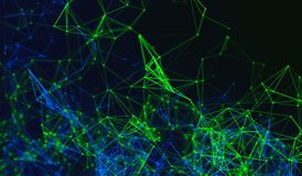 Digital data points and green network connection lines on black. Background for technology concept, 3d abstract illustration royalty free illustration