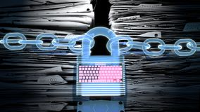 Online security, data protection, cyber lock and keyboard with holographic look protecting a stack of files and documents. Digital data protection and internet Royalty Free Stock Image
