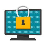 Digital data protection and privacy concept banner royalty free illustration