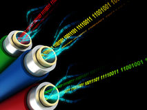 Digital data wires. 3d illustration of wires or fiber optics with digital data inside Stock Photo