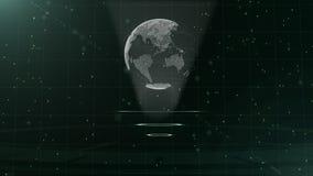 Digital-Datenkugel - abstrakte Illustration einer wissenschaftlichen Technologie Datennetz Umgebende Planetenerde auf drei lizenzfreie abbildung