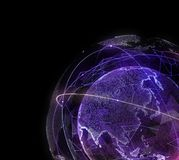 Digital design of a global network of Internet. 3d illustration Royalty Free Stock Photos