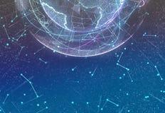 Digital design of a global network of Internet. 3d illustration. royalty free stock image