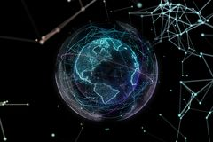 Digital design of a global network of Internet. 3d illustration Stock Photos