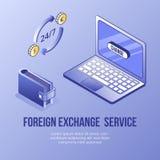 Digital isometric design concept set of online foreign exchange app 3d icons.Isometric business finance symbols-laptop. Digital design isometric concept scene of vector illustration
