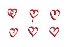 Digital designed heart vector ribbon. For use as icons or additional pieces Stock Image