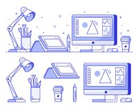 Digital Designer or Illustrator Icons. Graphic designer stuff and icons with digital illustrator or artist workspace with tools and equipment in line art vector illustration