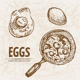 Digital  detailed line art cooking eggs. In frying pan hand drawn retro illustration collection set. Thin artistic pencil outline. Vintage ink flat, engraved Stock Images