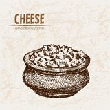 Digital  detailed line art grated cheese Royalty Free Stock Images