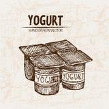 Digital  detailed line art packed yogurt. Hand drawn retro illustration collection set. Thin artistic pencil outline. Vintage ink flat, engraved mill doodle Stock Images