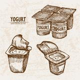 Digital  detailed line art packed yogurt. Hand drawn retro illustration collection set. Thin artistic pencil outline. Vintage ink flat, engraved mill doodle Stock Photography