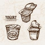 Digital  detailed line art packed yogurt Royalty Free Stock Photography