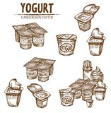 Digital  detailed line art packed yogurt. Hand drawn retro illustration collection set. Thin artistic pencil outline. Vintage ink flat, engraved mill doodle Royalty Free Stock Images