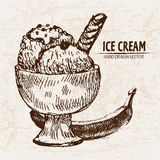 Digital  detailed line art sundae ice. Cream banana in glass bowl hand drawn retro illustration collection set. Thin artistic pencil outline. Vintage ink flat Stock Photos