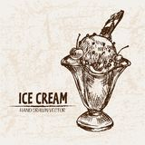 Digital  detailed line art sundae ice cream. In glass bowl hand drawn retro illustration collection set. Thin artistic pencil outline. Vintage ink flat Royalty Free Stock Photos
