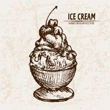 Digital  detailed line art sundae ice cream. In glass bowl hand drawn retro illustration collection set. Thin artistic pencil outline. Vintage ink flat Royalty Free Stock Photography
