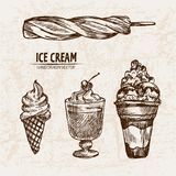 Digital  detailed line art sundae ice cream. In glass bowls hand drawn retro illustration collection set. Thin artistic pencil outline. Vintage ink flat Stock Photo