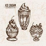 Digital  detailed line art sundae ice cream. In glass bowls hand drawn retro illustration collection set. Thin artistic pencil outline. Vintage ink flat Royalty Free Stock Image