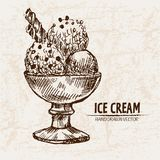 Digital  detailed line art sundae ice. Cream in glass bowl hand drawn retro illustration collection set. Thin artistic pencil outline. Vintage ink flat Royalty Free Stock Images