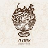 Digital  detailed line art sundae ice. Cream in glass bowl hand drawn retro illustration collection set. Thin artistic pencil outline. Vintage ink flat Stock Photography