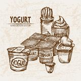 Digital  detailed line art yogurt. With whipped cream hand drawn retro illustration collection set. Thin artistic pencil outline. Vintage ink flat, engraved Royalty Free Stock Photography