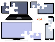 Digital device with the cut parts in the form of puzzles. Vector. Eps 8 Stock Photography