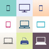 Digital device icons collection Stock Images