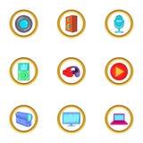 Digital device icons set, cartoon style Royalty Free Stock Image