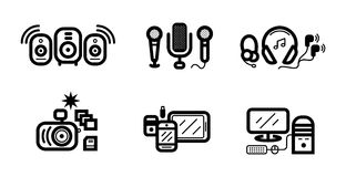 Digital devices in black colour icons set Stock Photos
